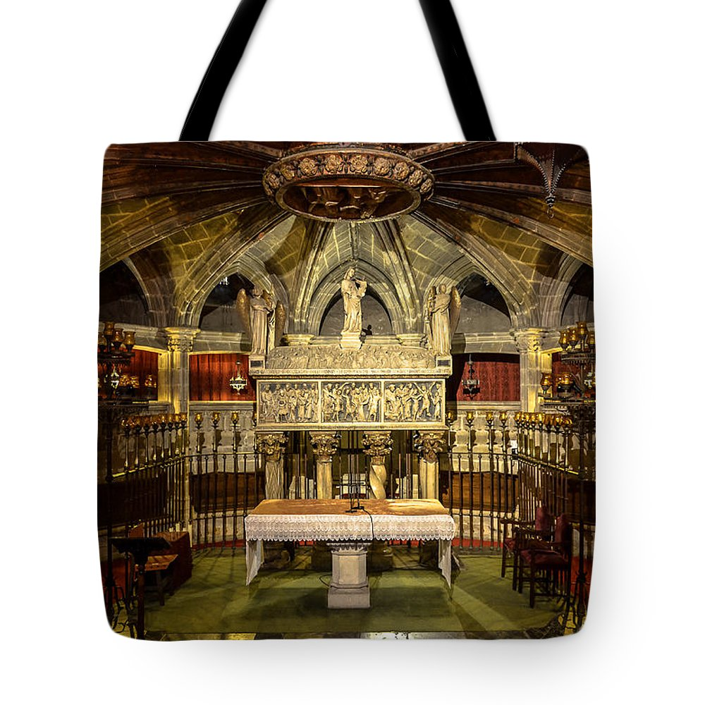 Photography Tote Bag featuring the photograph Tomb Of Saint Eulalia In The Crypt Of Barcelona Cathedral by RicardMN Photography