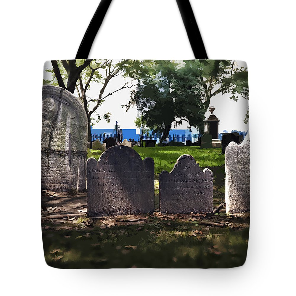 Cemetery Tote Bag featuring the photograph Tombstones by Kelley King
