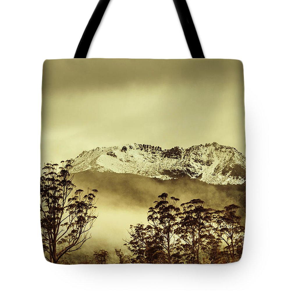 Vintage Tote Bag featuring the photograph Toned View Of A Snowy Mount Gell, Tasmania by Jorgo Photography - Wall Art Gallery