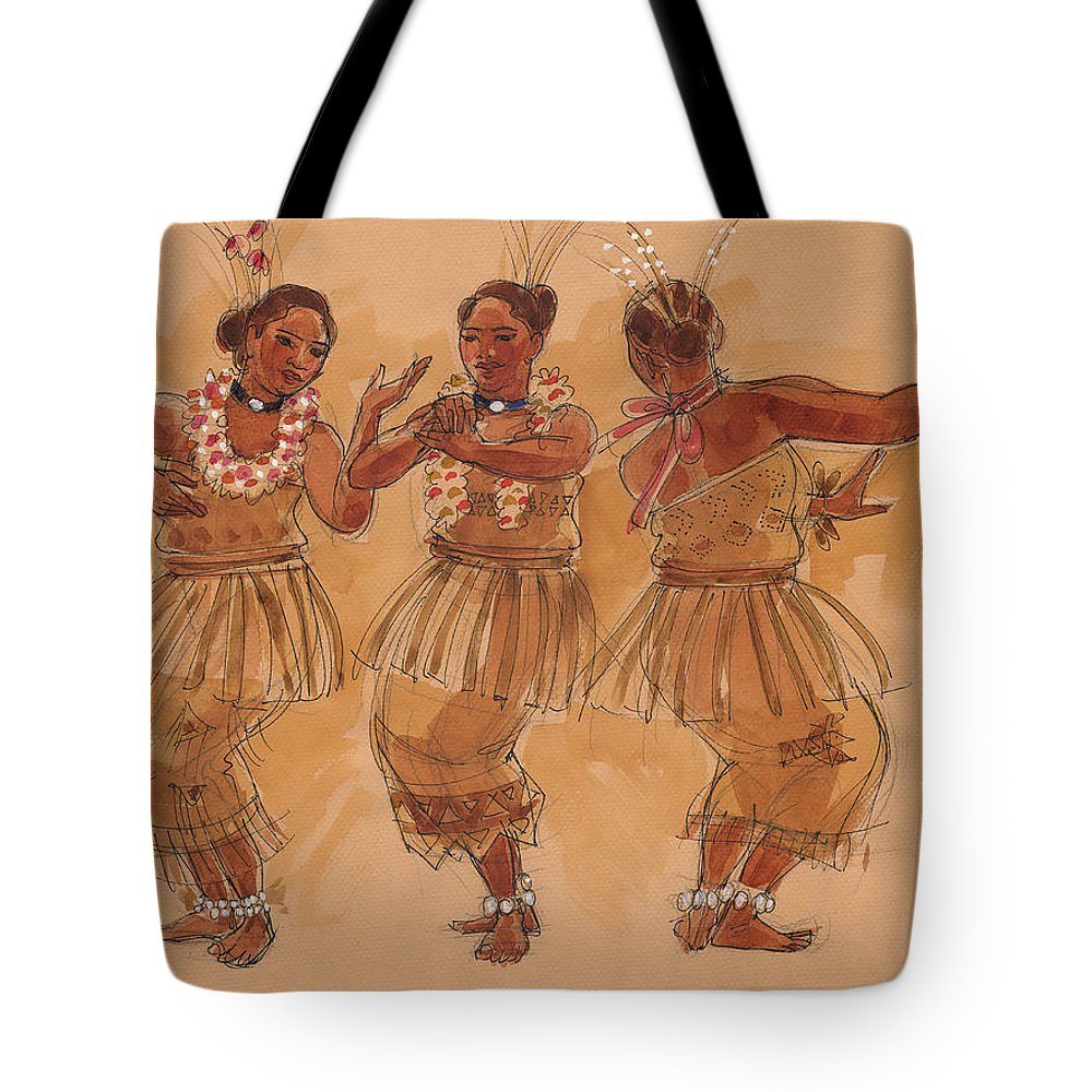 Tonga Tote Bag featuring the painting Tonga Dance From Niuafo'ou by Judith Kunzle