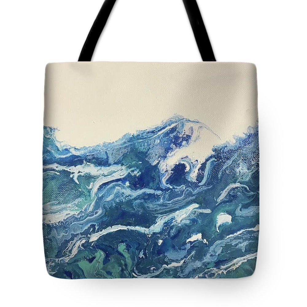 Ocean Tote Bag featuring the painting Too Blue by Deborah Miller