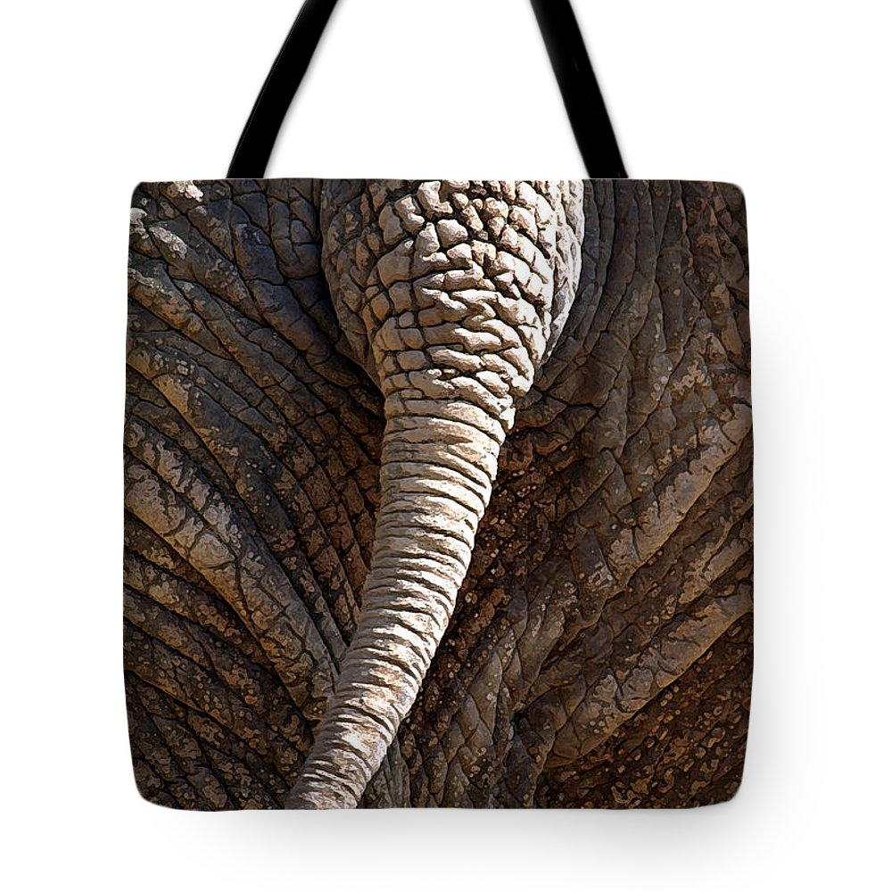 Elephant Tote Bag featuring the photograph Too Close For Comfort by Mary Haber