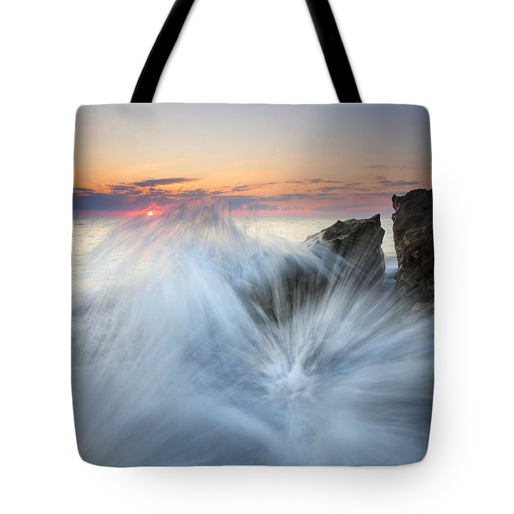 Sunrise Tote Bag featuring the photograph Too Close For Comfort by Mike Dawson