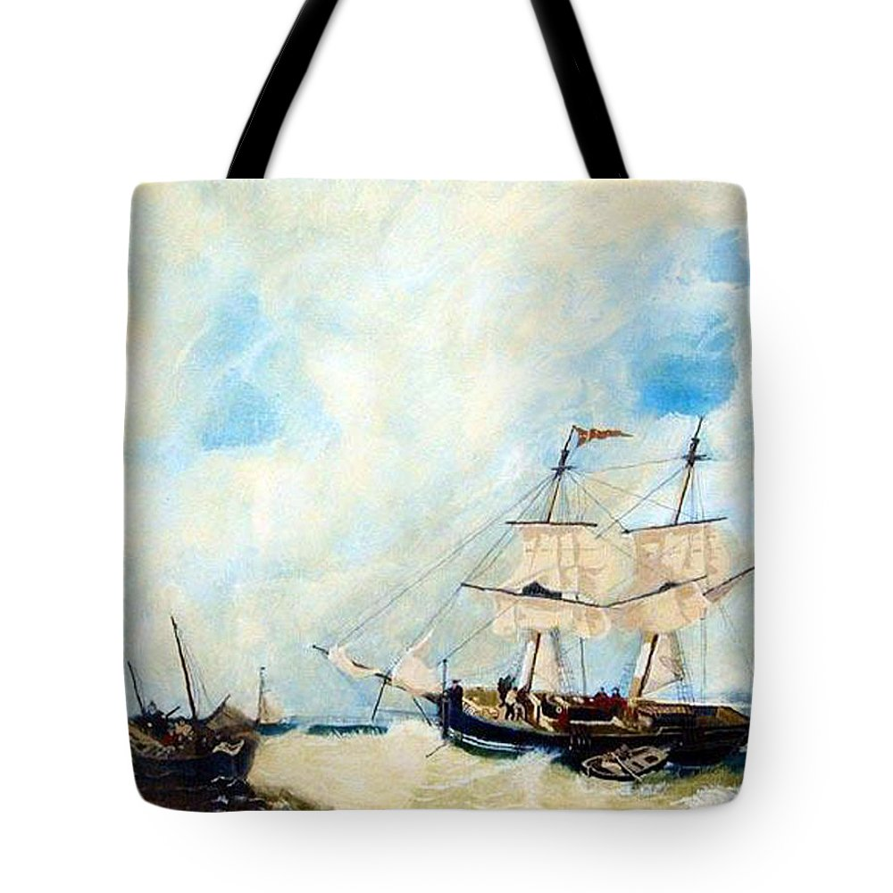 Sailing Tote Bag featuring the painting Too Close To Shore by Richard Le Page