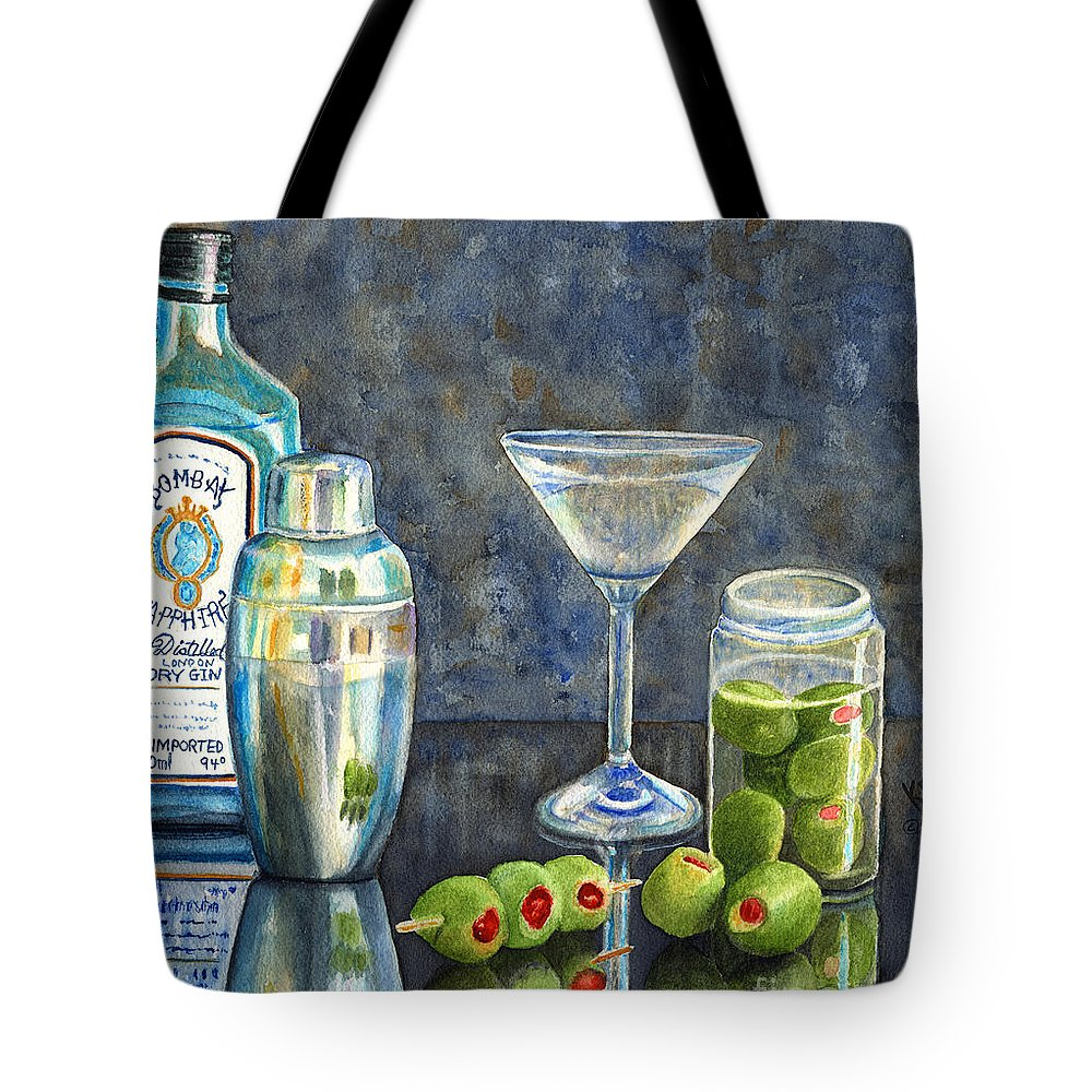 Gin Tote Bag featuring the painting Too Many Doubles by Karen Fleschler