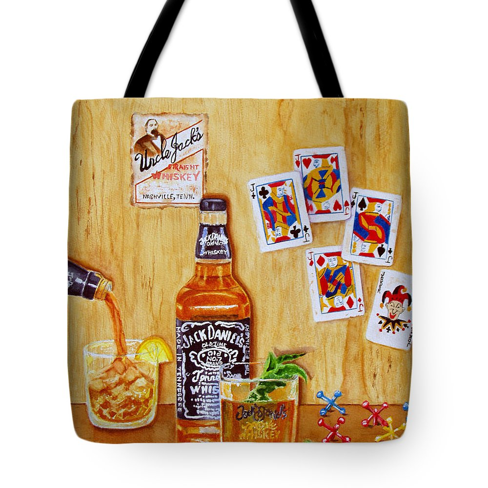 Jack Daniels Tote Bag featuring the painting Too Many Jacks by Karen Fleschler