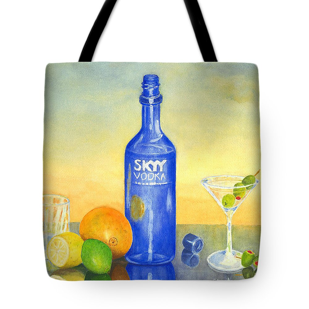 Vodka Tote Bag featuring the painting Too Many Skies by Karen Fleschler