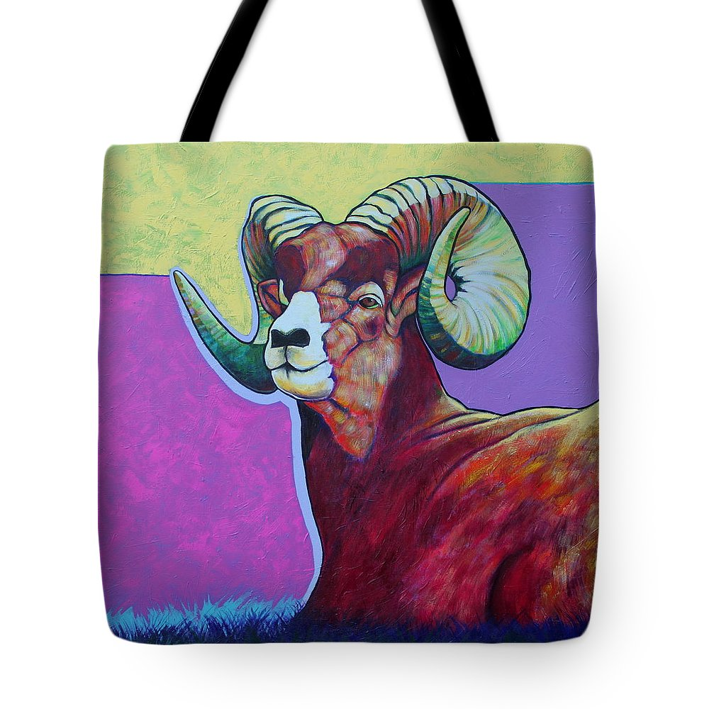 Wildlife Tote Bag featuring the painting Top Heavy Big Horn by Joe Triano