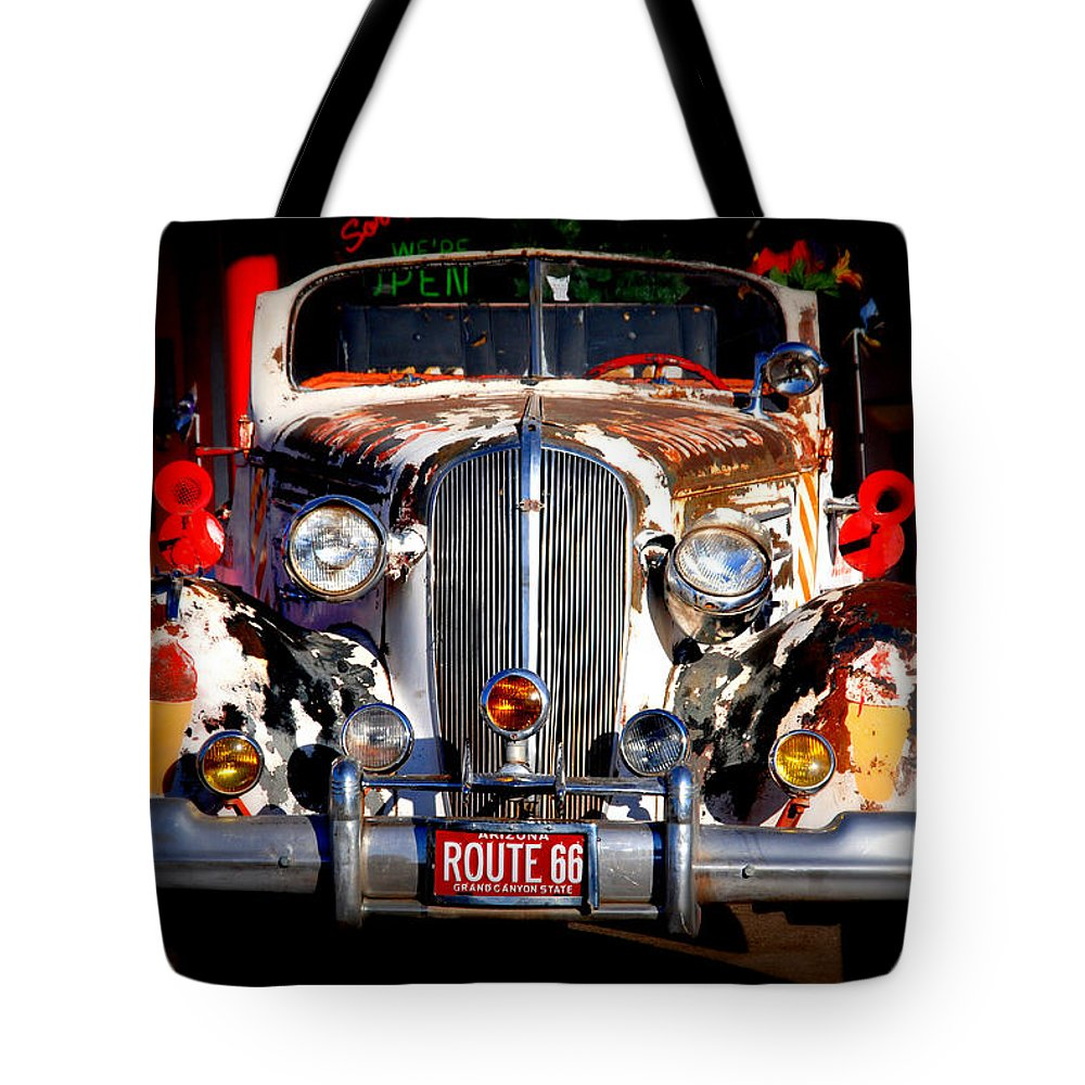 Route 66 Tote Bag featuring the photograph Top Model On Route 66 by Susanne Van Hulst