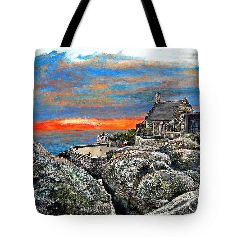 Sunset Tote Bag featuring the painting Top Of Table Mountain by Michael Durst