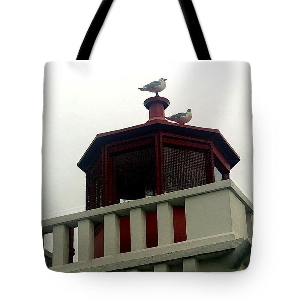 Lighthouse Tote Bag featuring the photograph Top Of The Light by Mary Haber