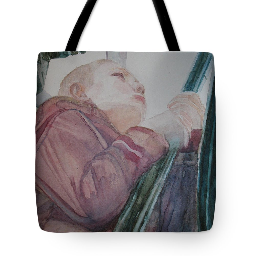 Boy Tote Bag featuring the painting Top Of The Lighthouse Stairs by Jenny Armitage