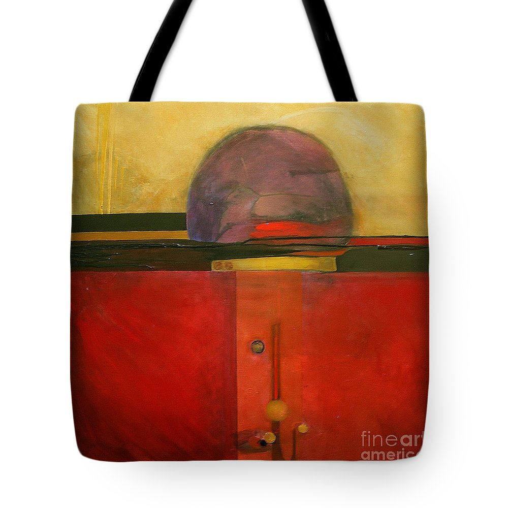 Abstract Tote Bag featuring the painting Tops by Marlene Burns