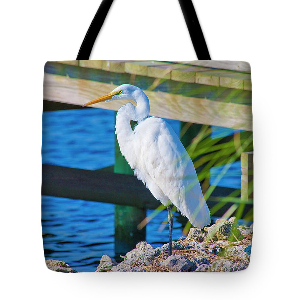 White Tote Bag featuring the photograph Topsail Egret by Betsy Knapp
