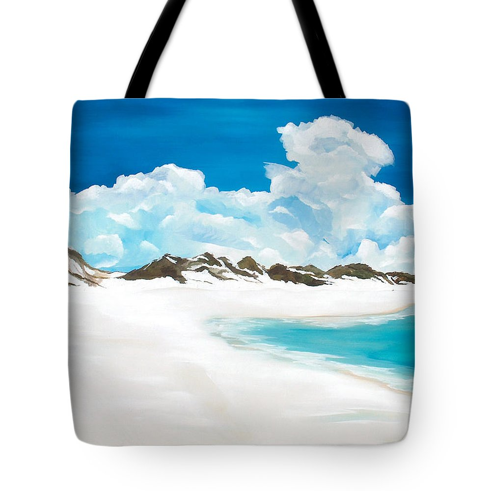 Beach Tote Bag featuring the painting Topsail Hill by Racquel Morgan