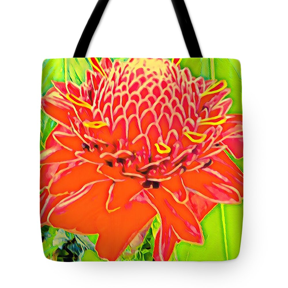 #flowersofaloha #flowers # Flowerpower #aloha #hawaii #aloha #puna #pahoa #thebigisland #torchginger #red Tote Bag featuring the photograph Torch Ginger Aloha by Joalene Young