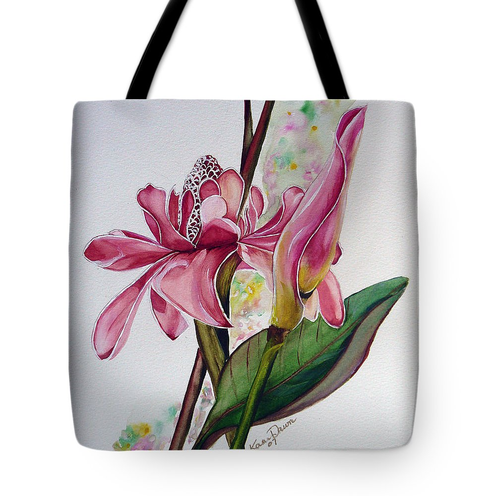 Flower Painting Floral Painting Botanical Painting Flowering Ginger. Tote Bag featuring the painting Torch Ginger Lily by Karin Dawn Kelshall- Best