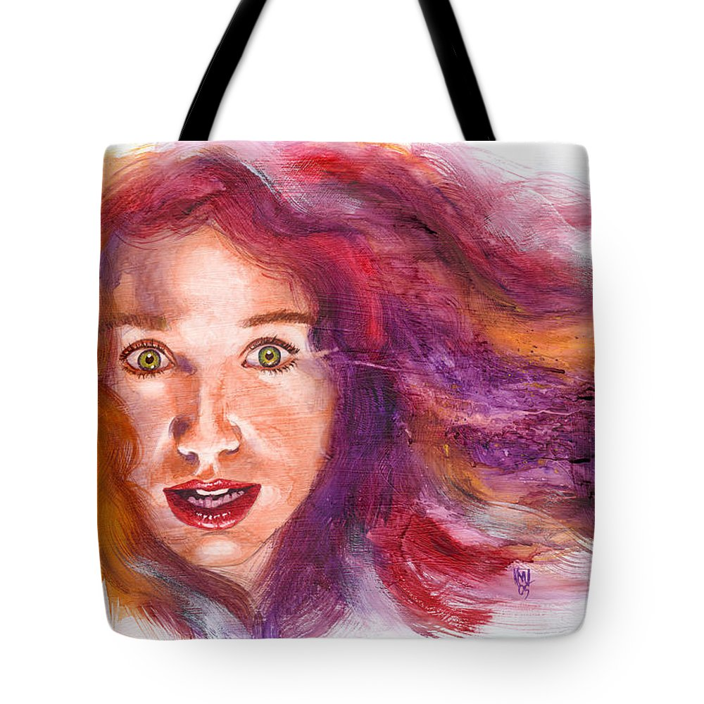 Musicians Tote Bag featuring the painting Tori Rainbow by Ken Meyer jr