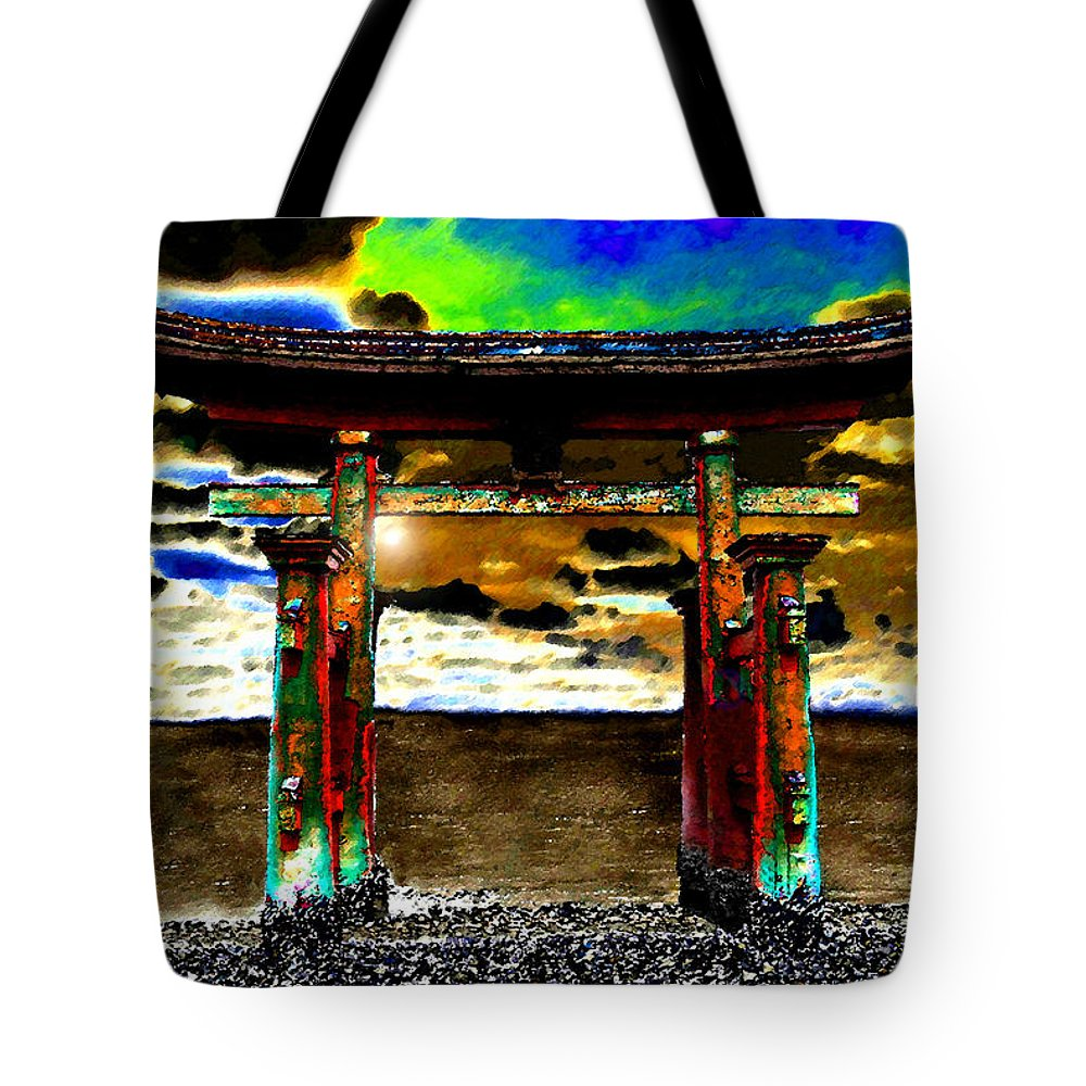 Art Tote Bag featuring the painting Torii Sunrise by David Lee Thompson