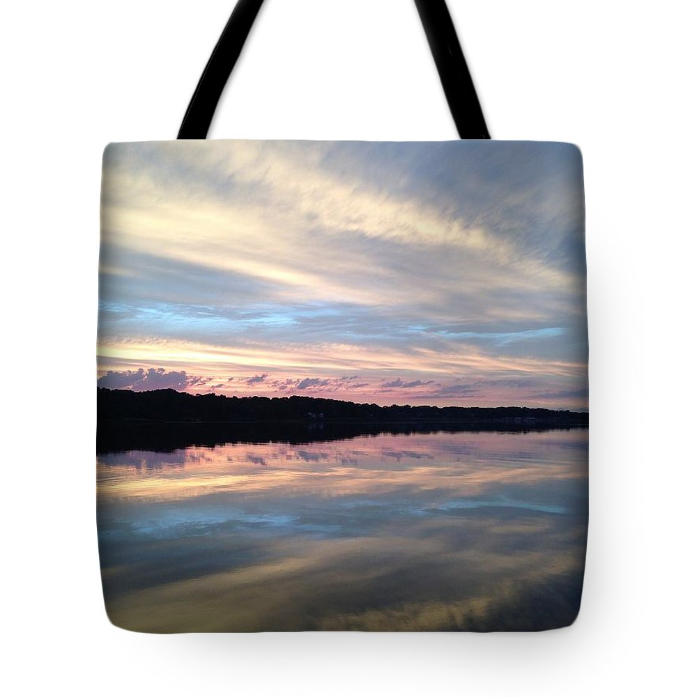 Sunsets Tote Bag featuring the photograph Torn Between Two Rivers by Christine Mertin