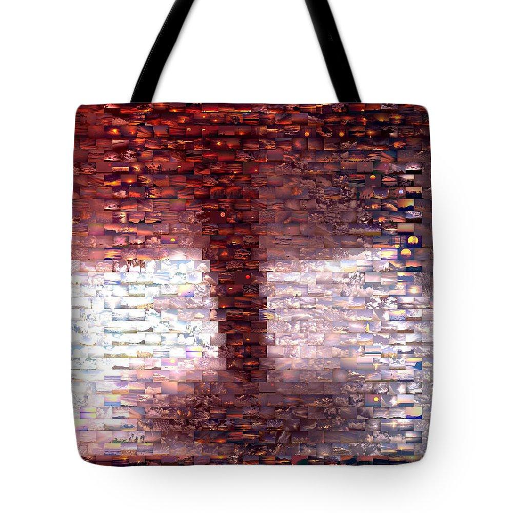 Wind Tote Bag featuring the mixed media Tornado From Sunsets Mosaic by Paul Van Scott