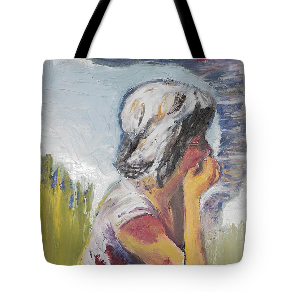 Tornado Tote Bag featuring the painting Tornado Girl by Craig Newland