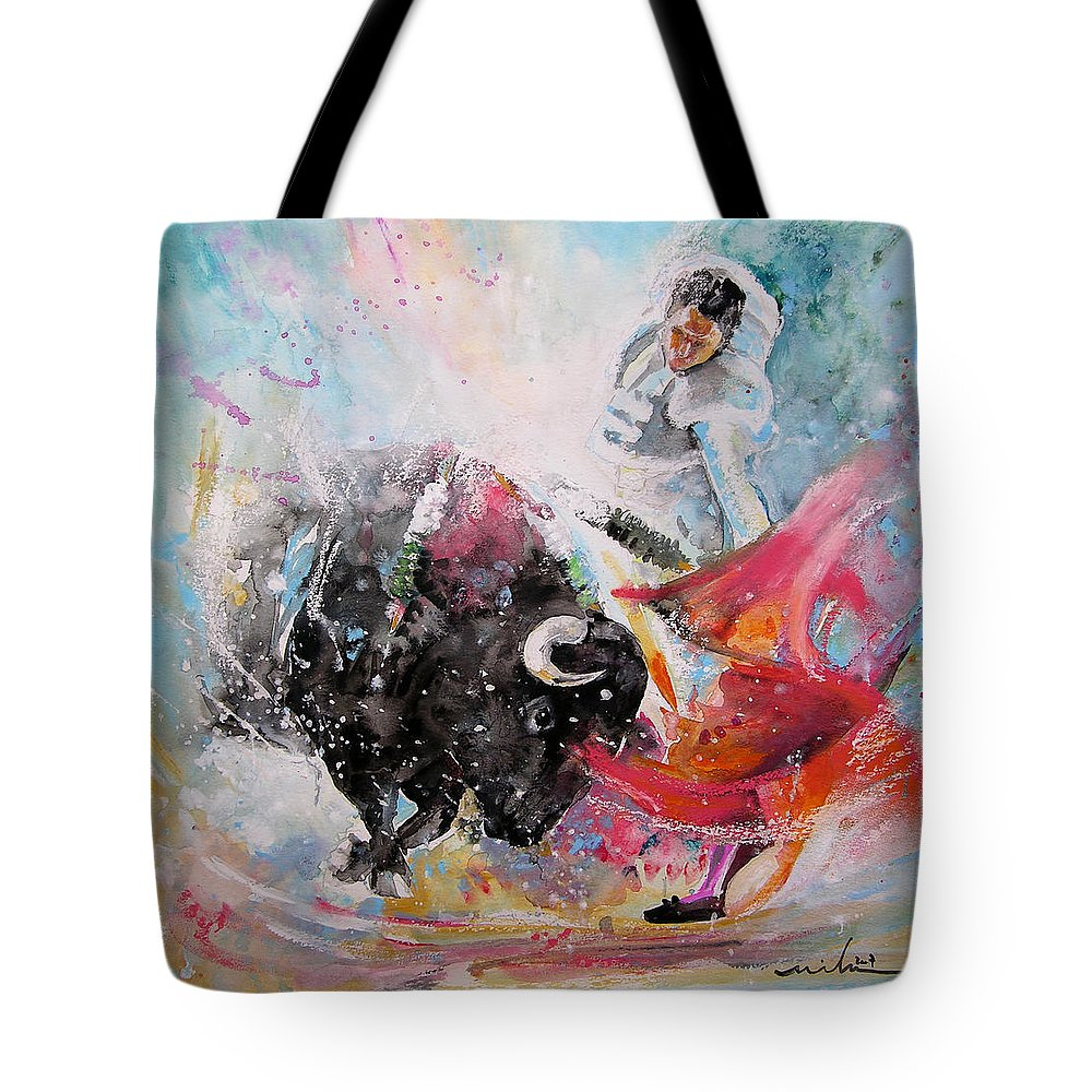Animals Tote Bag featuring the painting Toro Tempest by Miki De Goodaboom