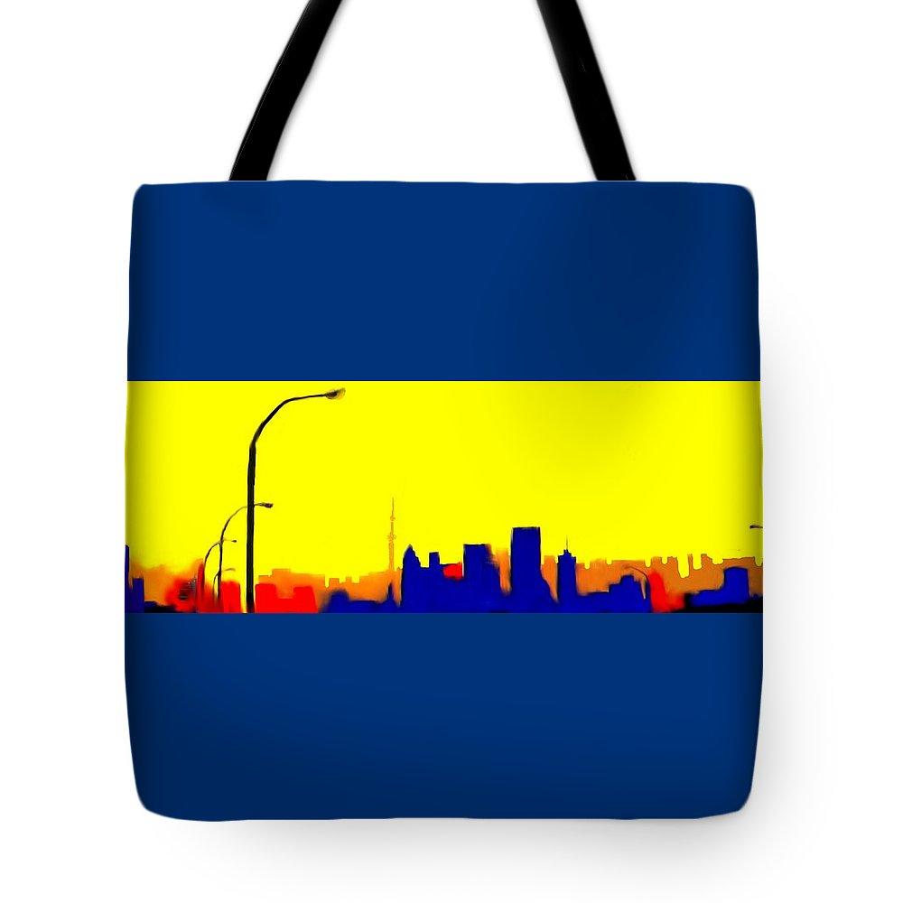 Toronto Tote Bag featuring the digital art Toronto C N Tower From Front Street Bridge by Ian MacDonald