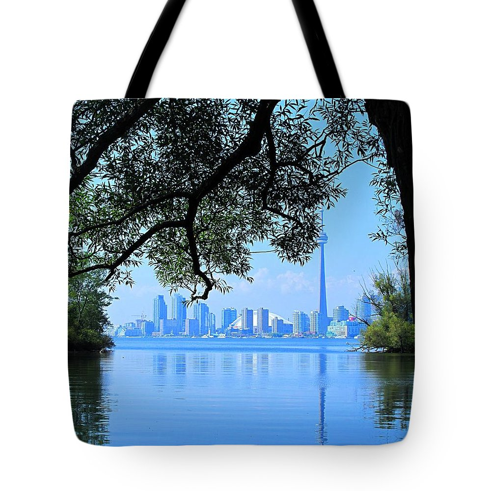 Cn Tower Tote Bag featuring the photograph Toronto Framed by Ian MacDonald