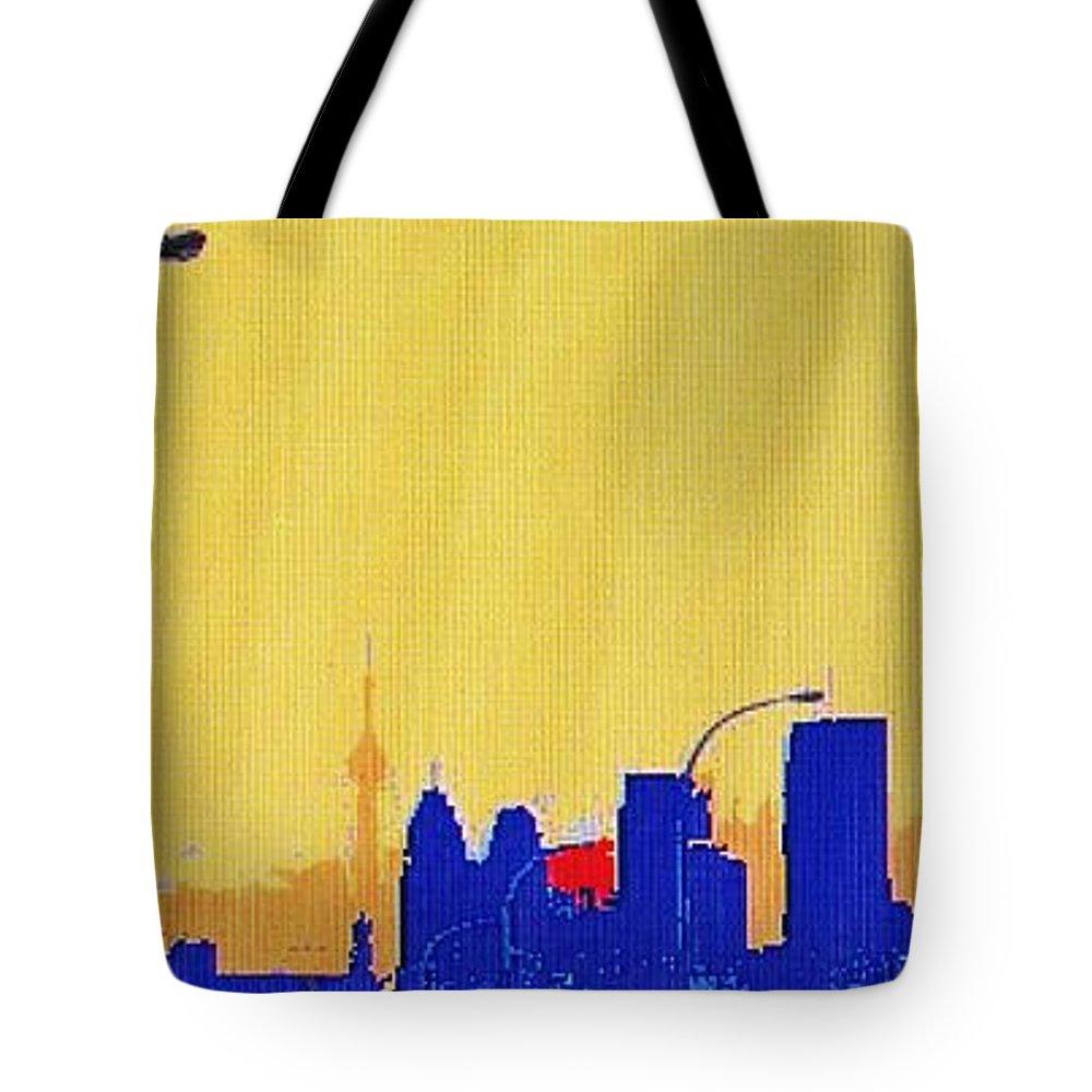 Toronto Tote Bag featuring the photograph Toronto Lemon Skyline by Ian MacDonald