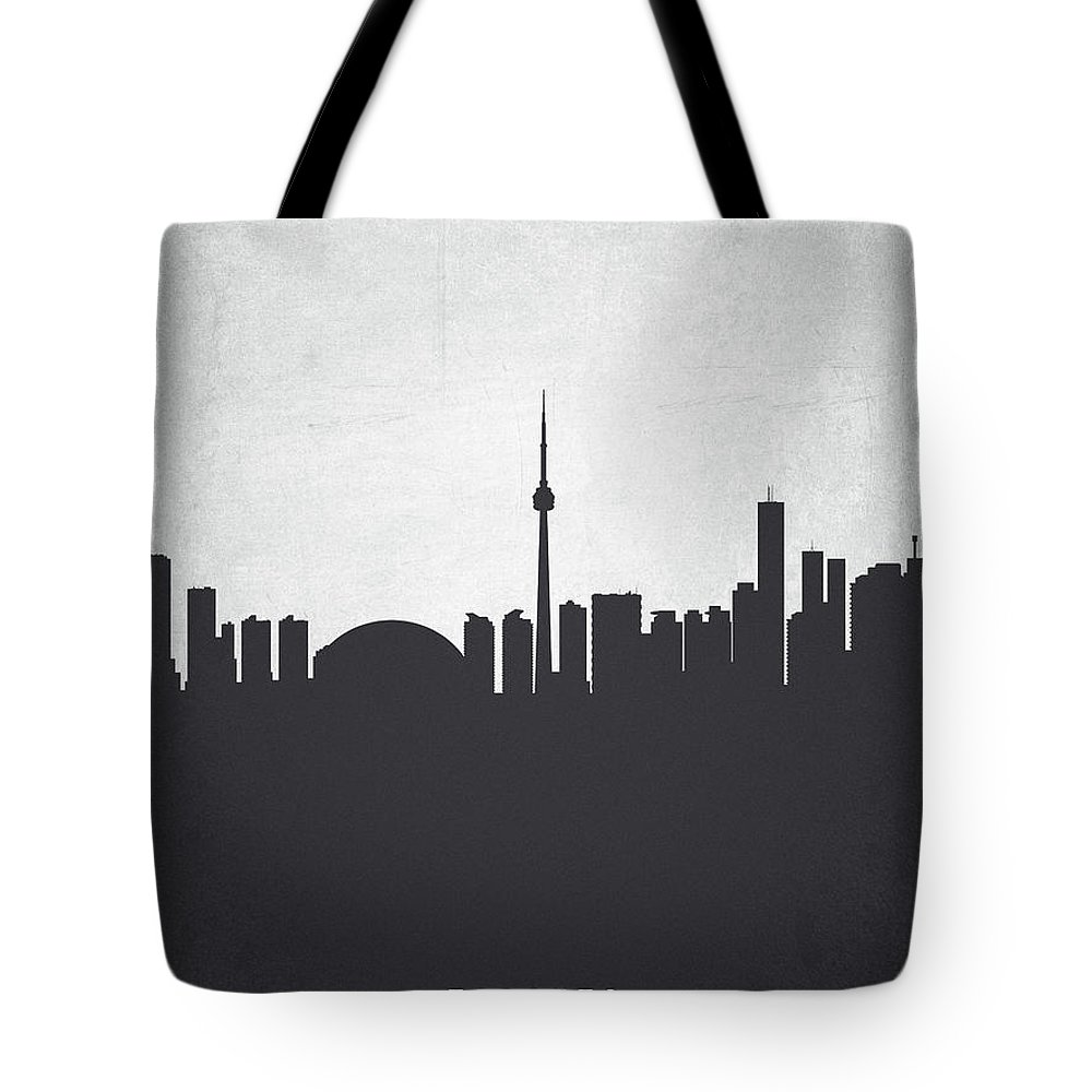 Toronto Tote Bag featuring the painting Toronto Ontario Cityscape 19 by Aged Pixel