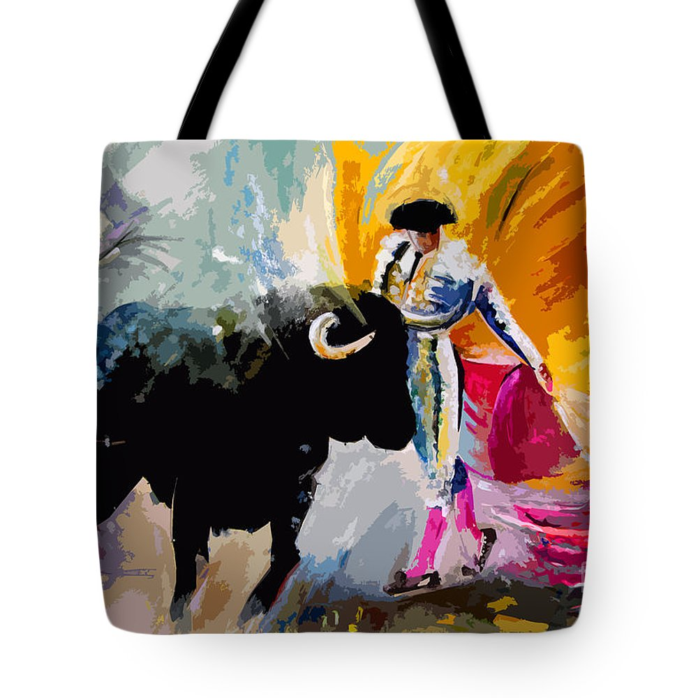 Toros Tote Bag featuring the mixed media Toroscape 03 by Miki De Goodaboom