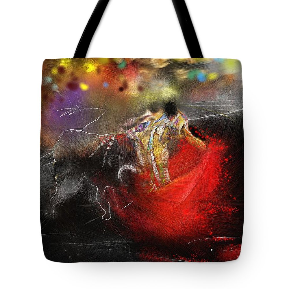 Animals Tote Bag featuring the painting Toroscape 18 by Miki De Goodaboom