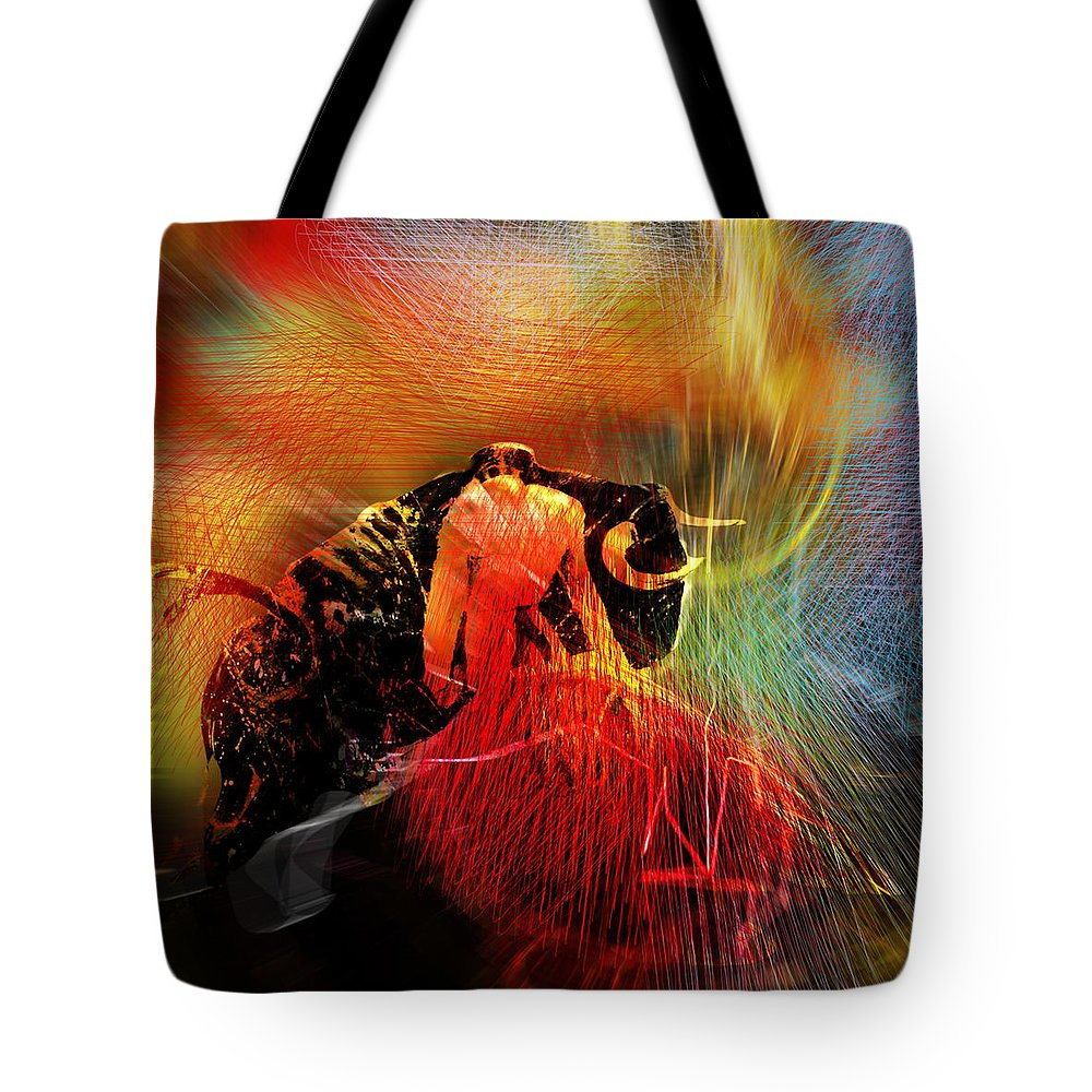 Toros Tote Bag featuring the painting Toroscape 19 by Miki De Goodaboom