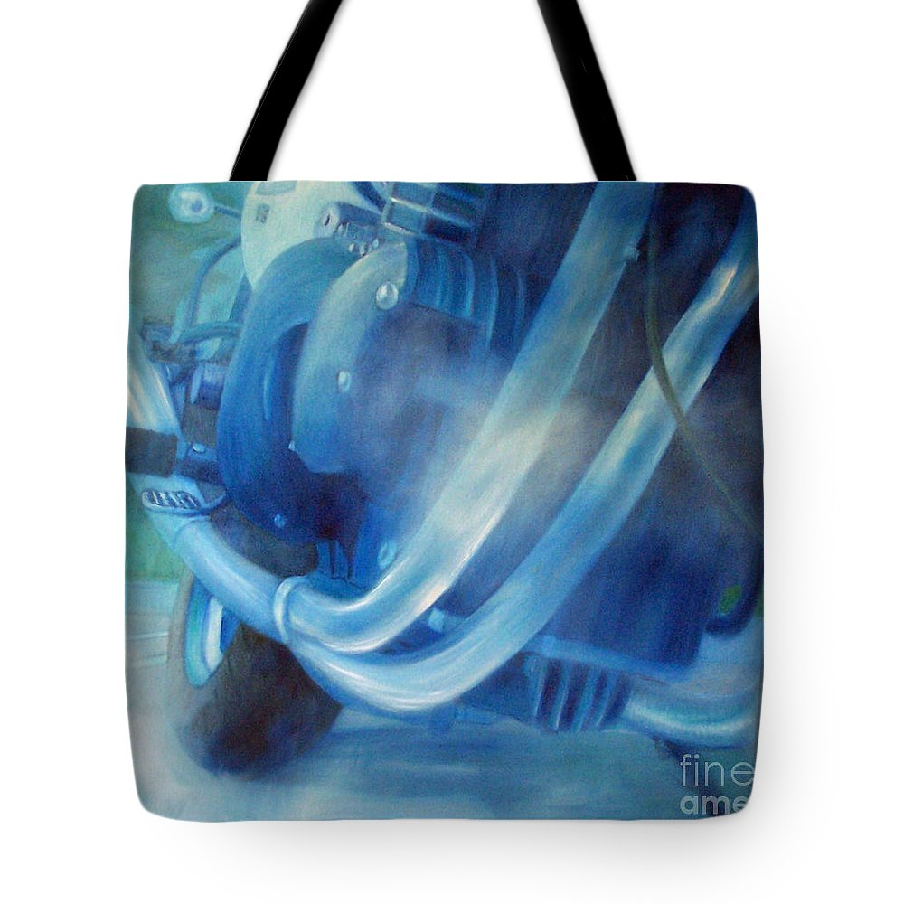 Motorcycles Tote Bag featuring the painting Torque Triple - Triumph Thunderbird Sport by Brian Commerford