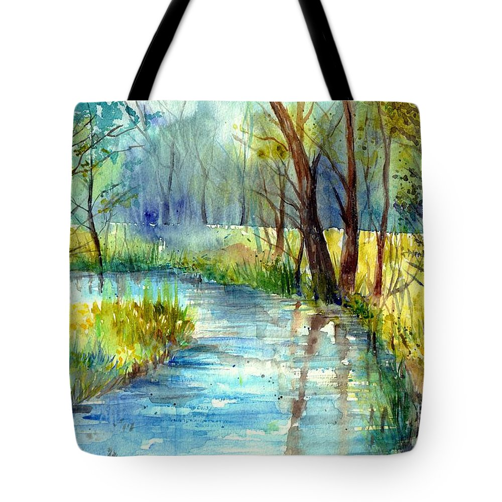 Village Tote Bag featuring the painting Torrent's Whisper by Suzann Sines