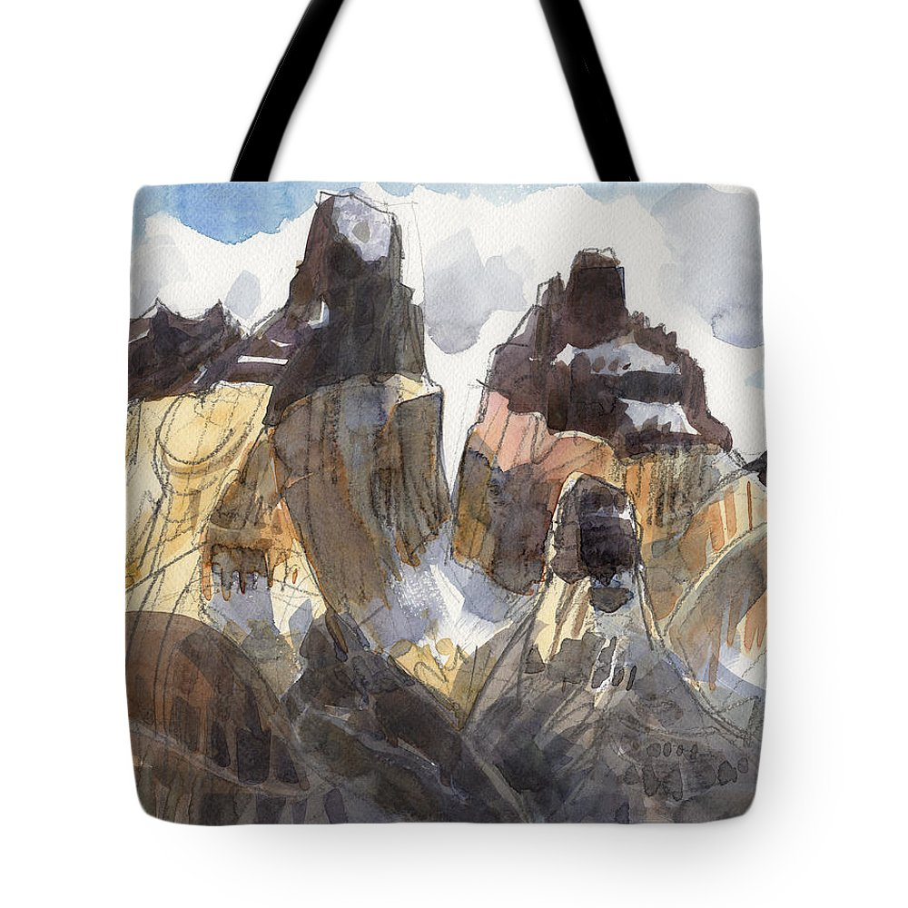 Landscape Tote Bag featuring the painting Torres Del Paine, Chile by Judith Kunzle