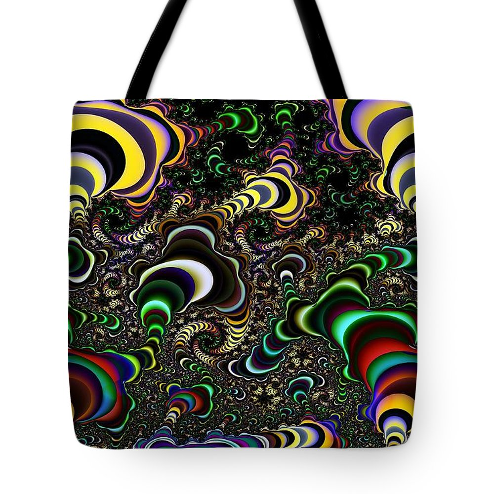 Torus Tote Bag featuring the digital art Torus Spirals by Ron Bissett