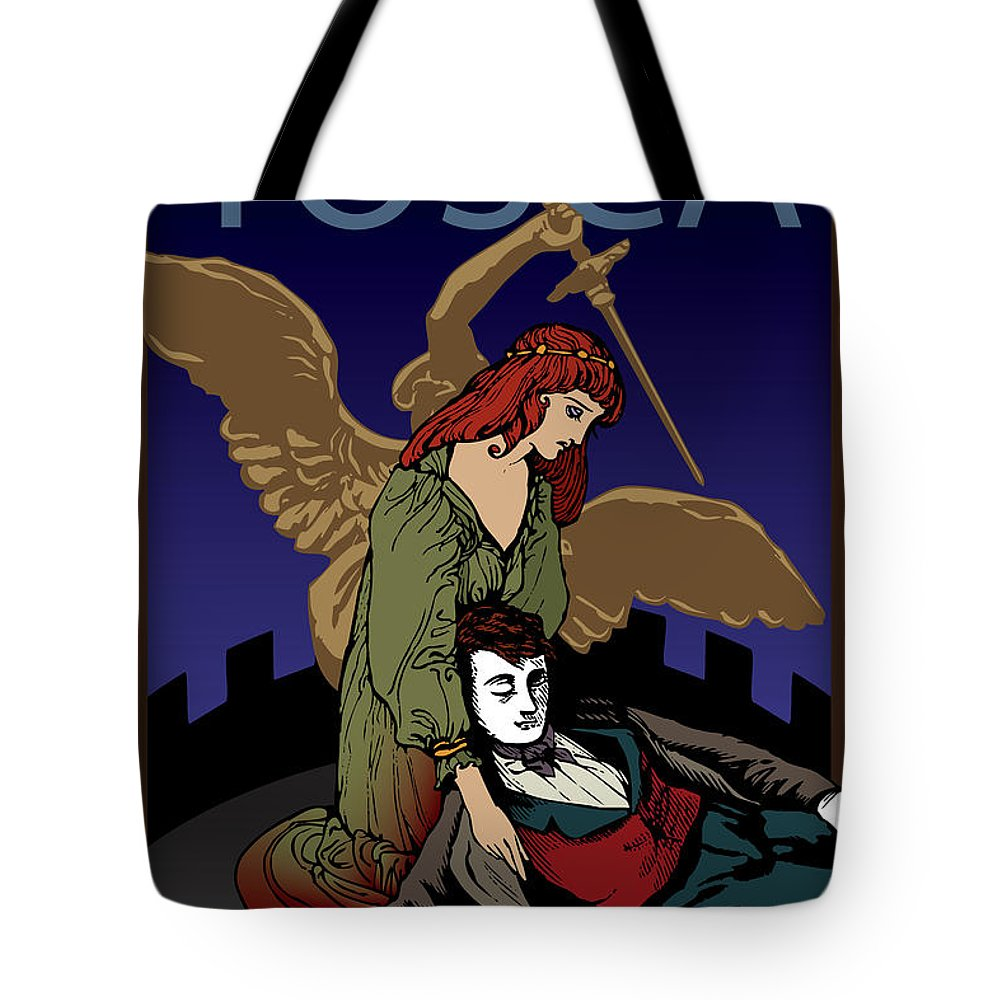 Puccini Tote Bag featuring the digital art Tosca by Joe Barsin