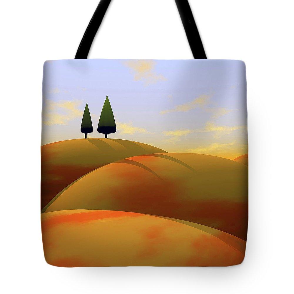 Hills Tote Bag featuring the digital art Toscana 1 by Cynthia Decker