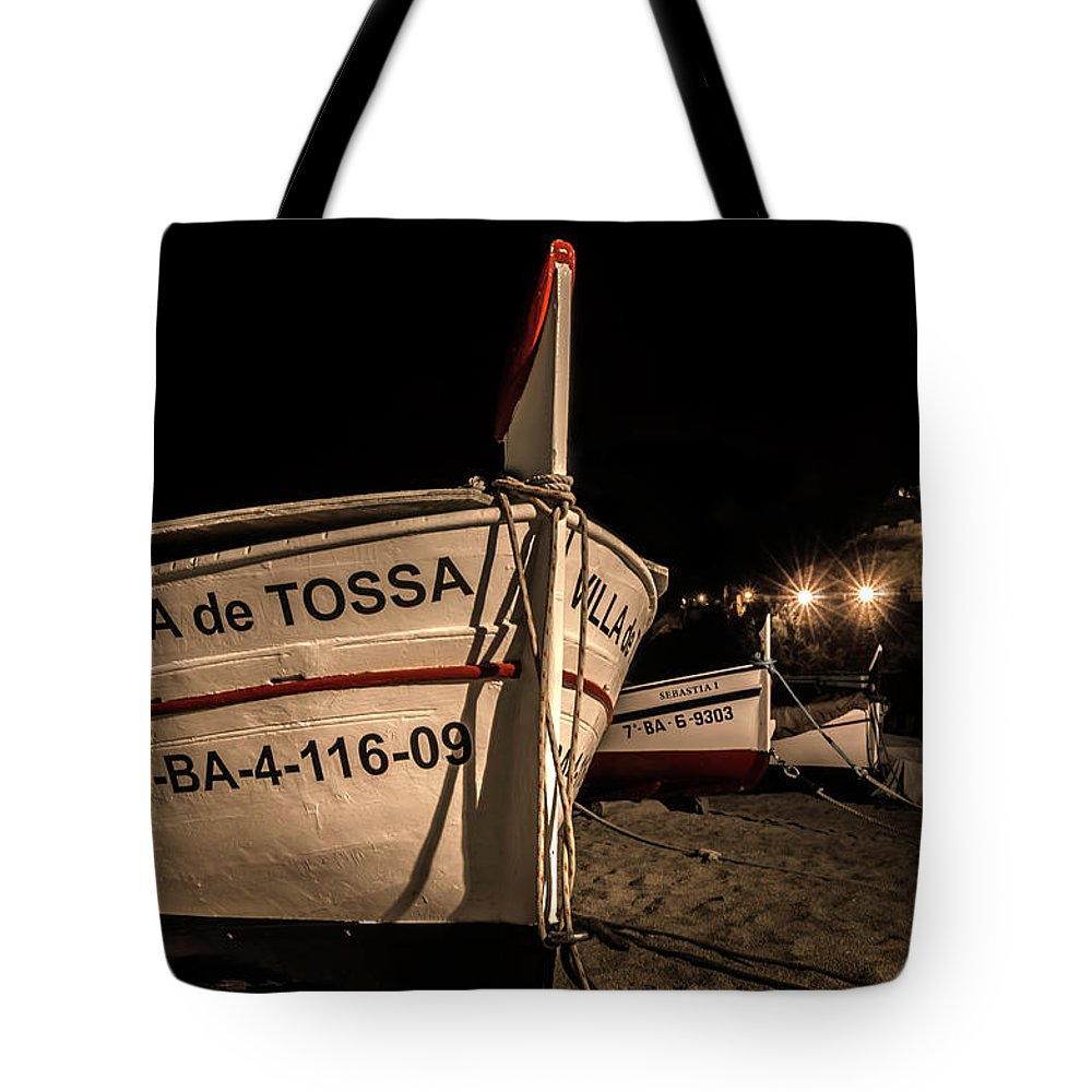 Spain Tote Bag featuring the photograph Tossa De Mar By Night by Wolfgang Stocker