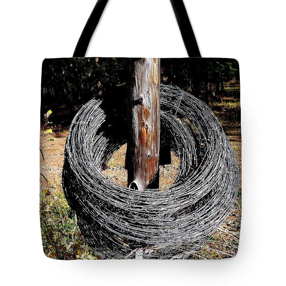 Barbed Wire Tote Bag featuring the photograph Totally Wired by Will Borden