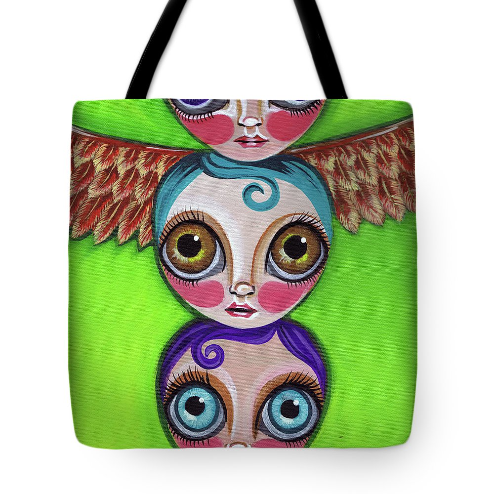 Totem Tote Bag featuring the painting Totem Dolls by Jaz Higgins