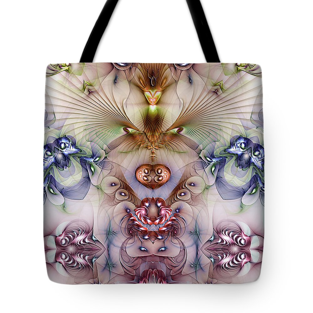 Abstract Tote Bag featuring the digital art Totemic Isotropy by Casey Kotas