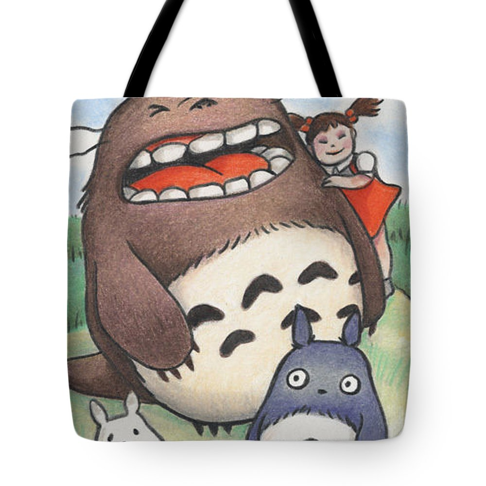 Atc Tote Bag featuring the drawing Totoro And Friends After Hayao Miyazaki by Amy S Turner