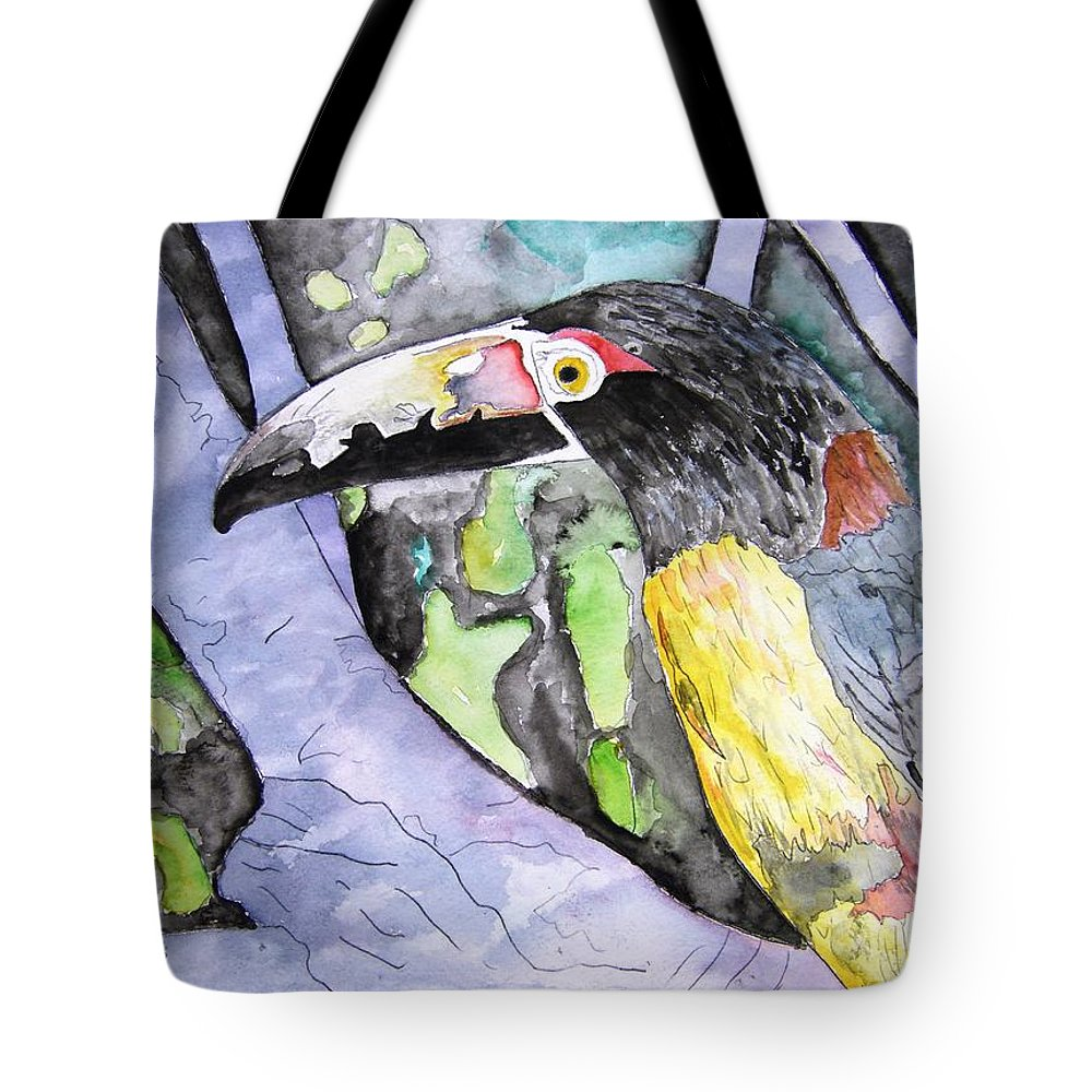 Touccan Tote Bag featuring the painting Toucan Bird Tropical Painting Fine Modern Art Print by Derek Mccrea