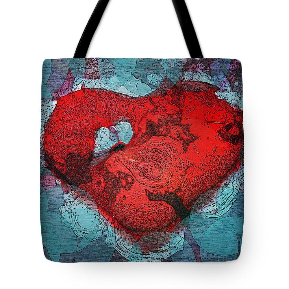 Abstract Art Tote Bag featuring the digital art Tough Love by Linda Sannuti
