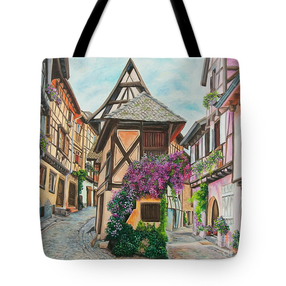 France Tote Bag featuring the painting Touring In Eguisheim by Charlotte Blanchard
