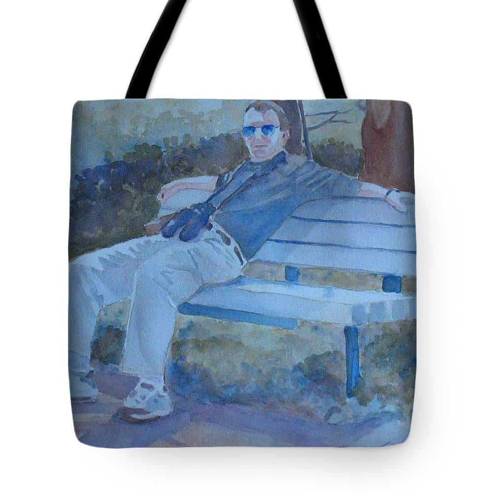Tourists Tote Bag featuring the painting Tourist At Rest by Jenny Armitage