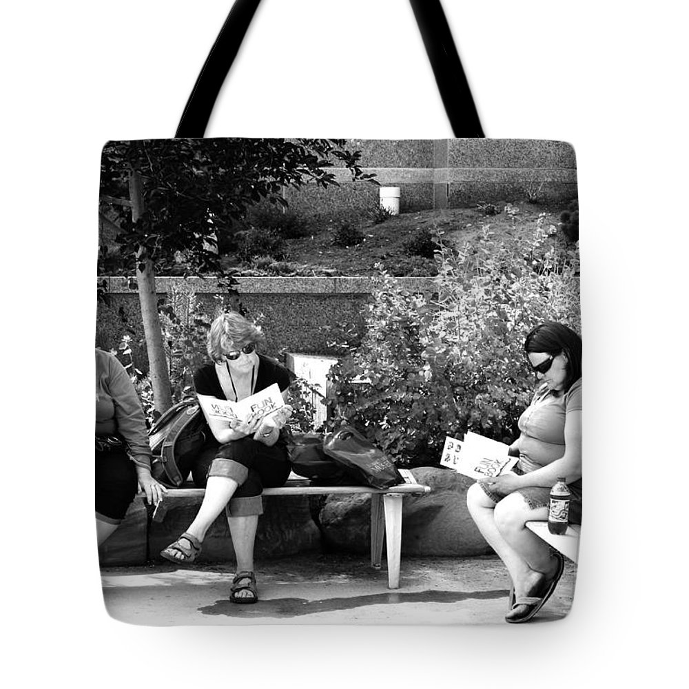 People Tote Bag featuring the photograph Tourists At Rest by Peter Jamieson